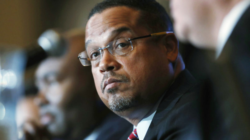 FILE - In a Dec. 2, 2016 file photo, U.S. Rep. Keith Ellison, D-Minn., listens during a forum on the future of the Democratic Party, in Denver. Ellison, who is currently running to be the next chair of the Democratic National Committee, announced Monday, Jan. 16, 2017, he is boycotting Donald Trump's presidential inauguration on Friday. (AP Photo/David Zalubowski, File)