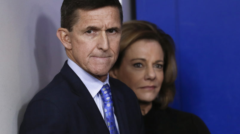 "National Security Adviser Michael Flynn stands with K.T. McFarland, deputy national security adviser, before speaking during the daily news briefing at the White House, in Washington, Wednesday, Feb. 1, 2017. Flynn said the administration is putting Iran ""on notice"" after it tested a ballistic missile. (AP Photo/Carolyn Kaster)"