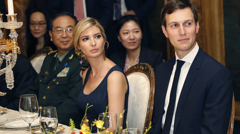 Ivanka Trump, second from right, the daughter and assistant to President Donald Trump, is seated with her husband White House senior adviser Jared Kushner, right, during a dinner with President Donald Trump and Chinese President Xi Jinping, at Mar-a-Lago, Thursday, April 6, 2017, in Palm Beach, Fla. (AP Photo/Alex Brandon)