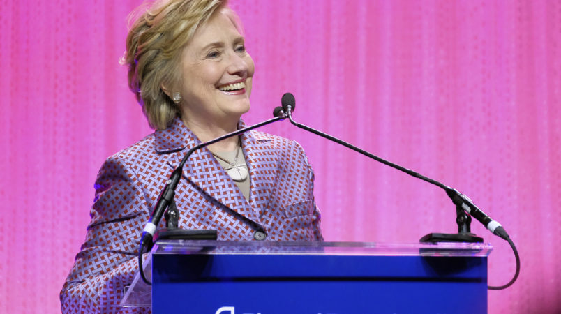 Honoree former Secretary of State Hillary Clinton speaks at the Planned Parenthood 100th Anniversary Gala on Tuesday, May 2, 2017 in New York. (Photo by Charles Sykes/Invision/AP)
