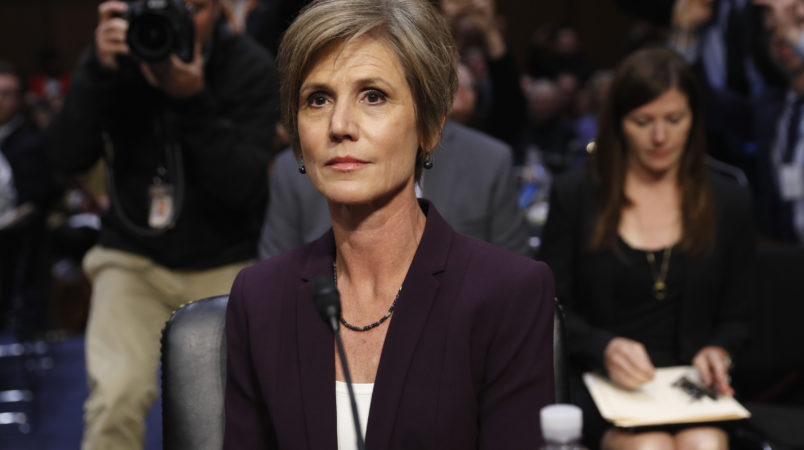 """Former acting Attorney General Sally Yates and former National Intelligence Director James Clapper testifying on Capitol Hill in Washington, Monday, May 8, 2017, before the Senate Judiciary subcommittee on Crime and Terrorism hearing: """"Russian Interference in the 2016 United States Election."""" (AP Photo/Pablo Martinez Monsivais)"""