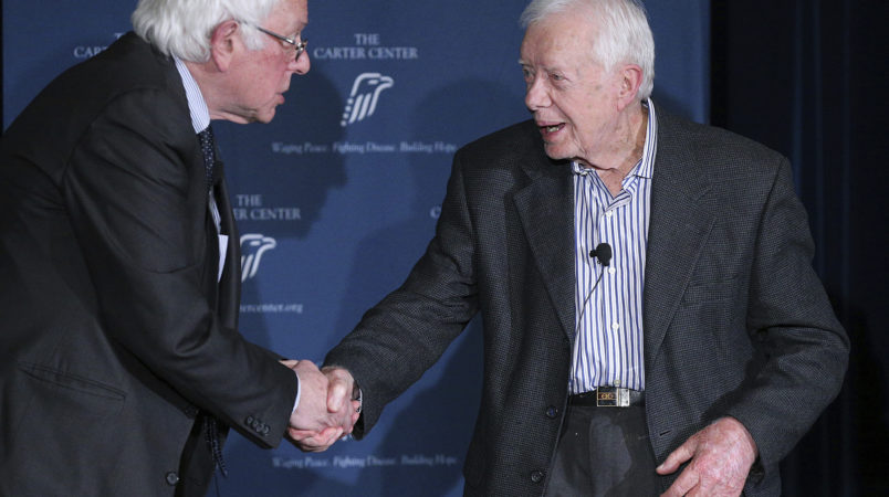 May 8, 2017, Atlanta: Former President Jimmy Carter is joined by Senator Bernie Sanders to discuss human rights during the Human Rights Defenders Forum at the Carter Center on Monday, May 8, 2017, in Atlanta.    Curtis Compton/ccompton@ajc.com