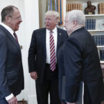 President Donald Trump meets with Russian Russian Foreign Minister Sergey Lavrov, left, in the White House in Washington, Wednesday, May 10, 2017. At right is Russian Ambassador to USA Sergei Kislyak. President Donald Trump on Wednesday welcomed Vladimir Putin's top diplomat to the White House for Trump's highest level face-to-face contact with a Russian government official since he took office in January. (Russian Foreign Ministry Photo via AP)