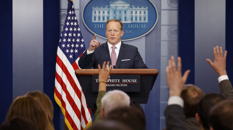 White House press secretary Sean Spicer speaks during the daily press briefing, Friday, May 12, 2017, in Washington. (AP Photo/Evan Vucci)