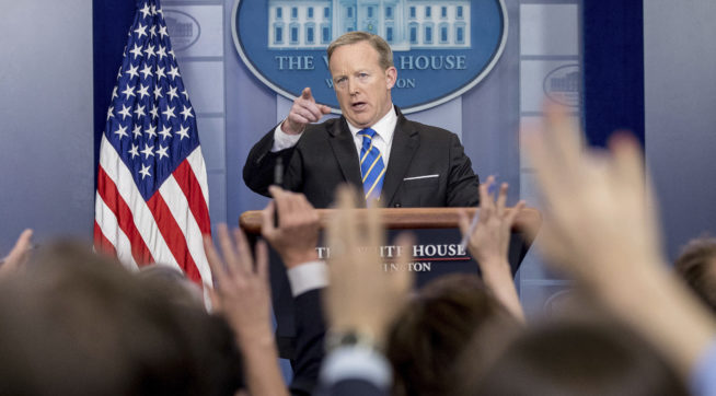 White House press secretary Sean Spicer calls on a member of the media during the daily press briefing at the White House, Monday, May 15, 2017, in Washington. (AP Photo/Andrew Harnik)