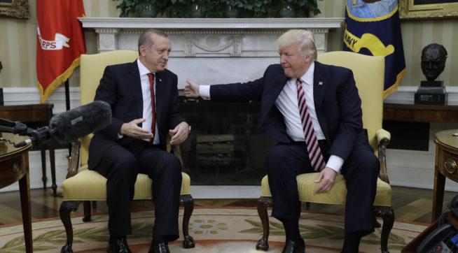 President Donald Trump XXXX Turkish President Recep Tayyip Erdogan xxxx at the White House, Tuesday, May 16, 2017, in Washington. (AP Photo/Evan Vucci)
