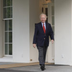 Former Connecticut Sen. Joe Lieberman leaves the West Wing of the White House in Washington, Wednesday, May 17, 2017. The White House says President Donald Trump will be interviewing four potential candidates to lead the FBI. (AP Photo/Pablo Martinez Monsivais)