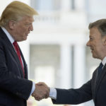 President Donald Trump greets Colombian President Juan Manuel Santos as he arrives at the the White House, Thursday, May, 18th, 2017, in Washington. (AP Photo/Andrew Harnik)