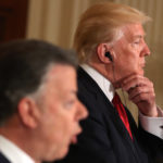 President Donald Trump accompanied by Colombian President Juan Manuel Santos, speaks during a joint news conference in the East Room of the White House, Thursday, May, 18th, 2017, in Washington. (AP Photo/Andrew Harnik)