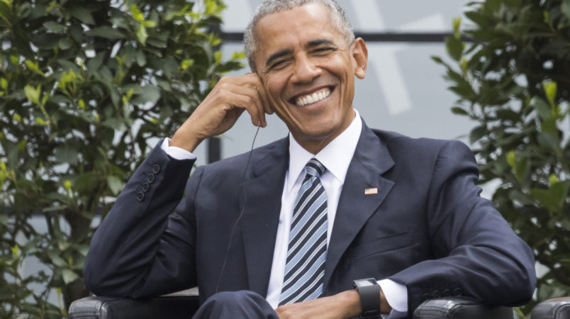 Former U.S. President Barack Obama smiles during a discussion event on democracy and global responsibility at a Protestant conference in Berlin, Germany, Thursday, May 25, 2017, when Germany marks the 500th anniversary of the Reformation. (AP Photo/Gero Breloer)