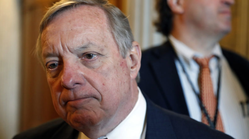 Sen. Dick Durbin, D-Ill., listens to a reporter's question before a Democratic policy luncheon, on Capitol Hill, Tuesday, April 25, 2017 in Washington. (AP Photo/Alex Brandon)