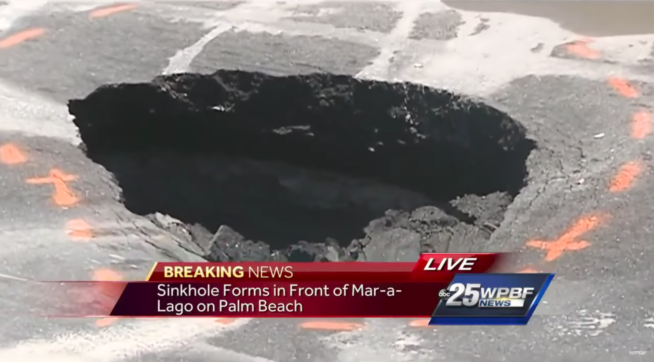 Small sinkhole opens outside Trump's Palm Beach Mar-a-Lago resort