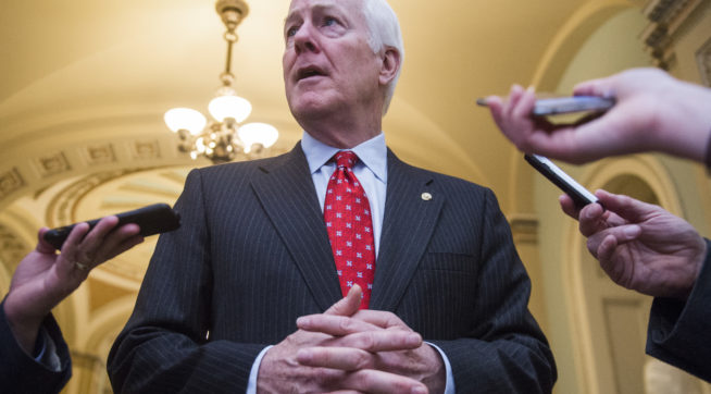 UNITED STATES- MAY 10 Senate Majority Whip John Cornyn R-Texas talks with reporters in the Capitol