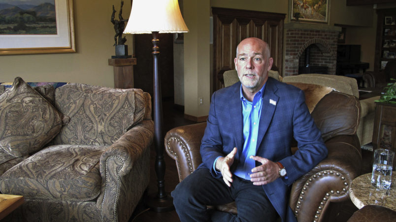 FILE--In this Oct. 5, 2016, file photo, Republican candidate for governor Greg Gianforte answers a reporter's question in his home in Bozeman, Mont. Gianforte is trying to unseat Democratic Gov. Steve Bullock in the Nov. 8 elections. (AP Photo/Matt Volz, file)