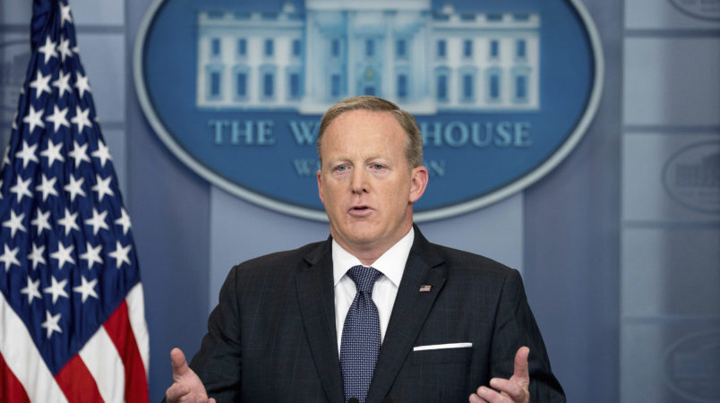 White House press secretary Sean Spicer speaks to the media during the daily press briefing at the White House, Tuesday, May 30, 2017, in Washington. Spicer discussed ongoing possible connections to Jared Kushner and Russians, the president's international trip, and other topics. (AP Photo/Andrew Harnik)