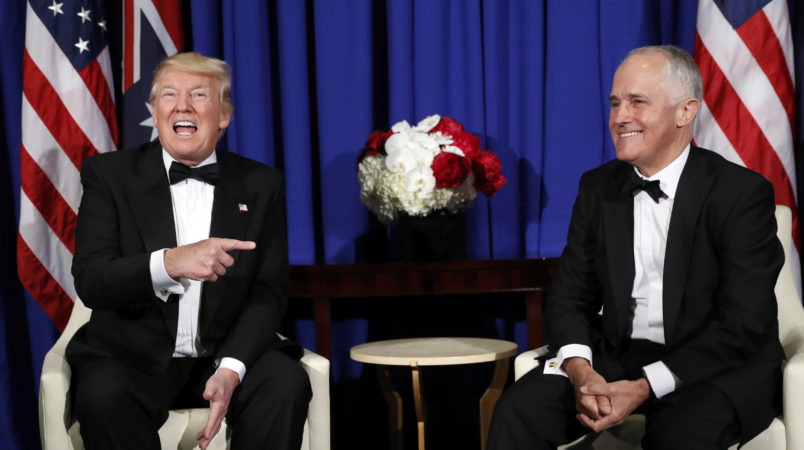 President Donald Trump meets with Australian Prime Minister Malcolm Turnbull aboard the USS Intrepid, a decommissioned aircraft carrier docked in the Hudson River in New York, Thursday, May 4, 2017. (AP Photo/Pablo Martinez Monsivais)