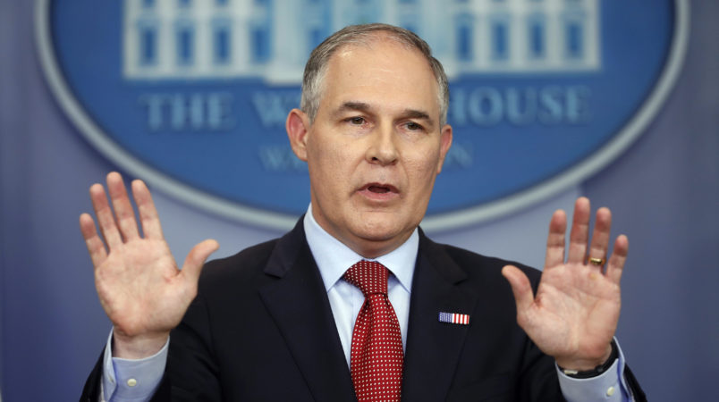 EPA Administrator Scott Pruitt speaks to the media during the daily briefing in the Brady Press Briefing Room of the White House in Washington, Friday, June 2, 2017. (AP Photo/Pablo Martinez Monsivais)