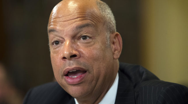 "Homeland Security Secretary Jeh Johnson testifies on Capitol Hill in Washington, Thursday, July 14, 2016, before the House Homeland Security hearing on ""Worldwide Threats to the Homeland: ISIS and the New Wave of Terror.""  (AP Photo/Evan Vucci)"