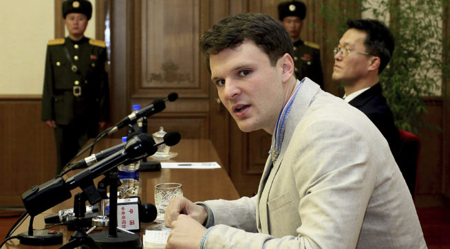HOLD FOR SUNDAY, JAN. 22 – FILE – In this Feb. 29, 2016, file photo, American student Otto Warmbier speaks as Warmbier is presented to reporters in Pyongyang, North Korea. North Korea announced Warmbier's detention Jan. 22, 2016, and the University of Virginia student from suburban Cincinnati was sentenced in March 2016 to 15 years in prison at hard labor after a televised confession that he tried to steal a propaganda banner. As President Donald Trump's administration takes office one year later, there's been little public word about what has happened to Warmbier. (AP Photo/Kim Kwang Hyon, File)