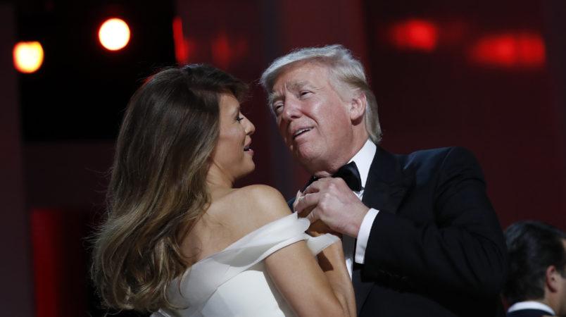 President Donald Trump dances with first lady Melania Trump at the Freedom Ball,  Friday, Jan. 20, 2017 in Washington. (AP Photo/Alex Brandon)