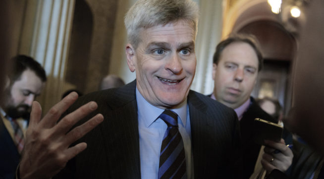Sen. Bill Cassidy, R-La., speaks to reporters outside the Senate Chamber about President Trump's speech to Congress, during the vote to confirm Ryan Zinke as President Donald Trump's secretary of the Department of the Interior, on Capitol Hill in Washington, Wednesday, March 1, 2017. A physician by training, Cassidy has introduced an Affordable Care Act alternative, called the Patient Freedom Act of 2017.  (AP Photo/J. Scott Applewhite)