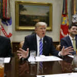 President Donald Trump speaks during a meeting with House and Senate leadership in the Roosevelt Room of the White House, Wednesday, March 1, 2017, in Washington. From left, Senate Majority Leader Mitch McConnell, R-Ky., Trump, and Speaker of the House Paul Ryan, R- Wis. (AP Photo/Evan Vucci)