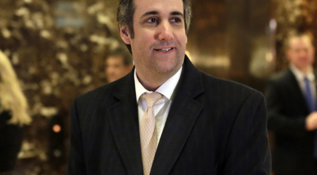 FILE - In this Dec. 16, 2016, file photo, Michael Cohen, an attorney for President-elect Donald Trump, arrives in Trump Tower in New York. Cohen fired back at critics on Twitter on May 14, 2017, after he posted a picture of his daughter wearing lingerie. (AP Photo/Richard Drew, File)