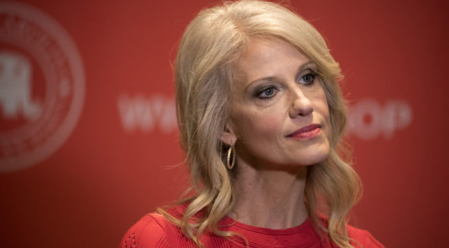 White House senior advisor Kellyanne Conway listens to a question from a reporter during a press conference at the North Carolina Republican Party State Convention at the Wilmington Convention Center in Wilmington, N.C., Saturday, June 3, 2017. (AP Photo/Mike Spencer)