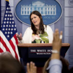 White House deputy press secretary Sarah Huckabee Sanders talks to the media during the daily press briefing at the White House, Monday, June 5, 2017, in Washington. Sanders discussed Trump's travel ban, health care, former FBI Director James Comey testifying to Congress and other topics. (AP Photo/Andrew Harnik)