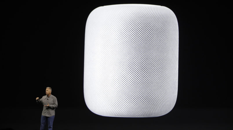 Phil Schiller, Apple's Senior Vice President of Worldwide Marketing,  introduces the HomePod speaker at the Apple Worldwide Developers Conference Monday, June 5, 2017, in San Jose , Calif. (AP Photo/Marcio Jose Sanchez)