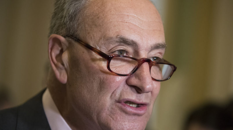 Senate Minority Leader Chuck Schumer, D-N.Y., and the Democratic leadership meet with reporters at the Capitol in Washington, Tuesday, June 6, 2017. (AP Photo/J. Scott Applewhite)