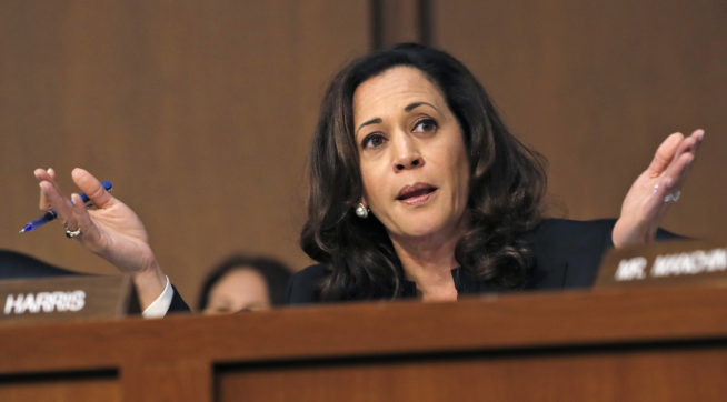 People keep interrupting Sen. Kamala Harris