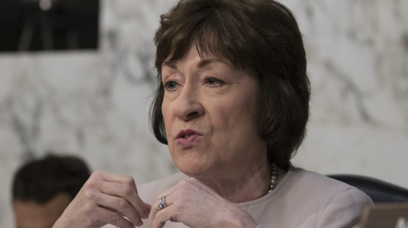 "Sen. Susan Collins, R-Maine, listens as fired FBI director James Comey recounts a series of conversations with President Donald Trump as he testifies before the Senate Select Committee on Intelligence, on Capitol Hill in Washington, Thursday, June 8, 2017. Comey alleges Trump repeatedly pressed him for his ""loyalty"" and directly pushed him to ""lift the cloud"" of investigation by declaring publicly the president was not the target of the probe into his campaign's Russia ties.   (AP Photo/J. Scott Applewhite)"