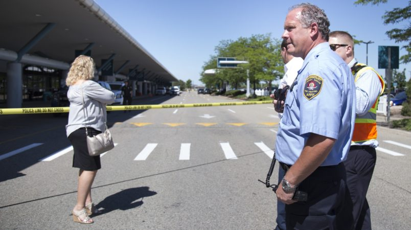 Police block travelers and traffic from entering the Flint Bishop International Airport on Thursday, June 8, 2017 as the airport was evacuated and police investigated a suspicious bag. Shannon Millard | MLive.com