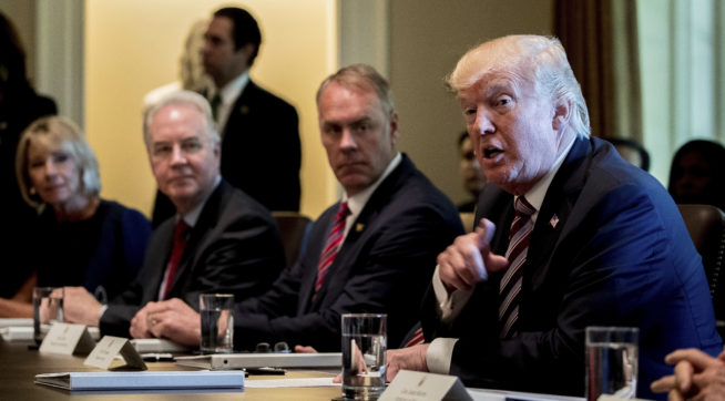 Democrats parody Trump for his 'all praise' Cabinet meeting