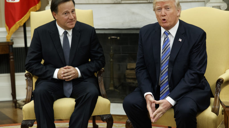 President Donald Trump meets with Panamanian President Juan Carlos Varela in the Oval Office of the White House, Monday, June 19, 2017, in Washington. (AP Photo/Evan Vucci)