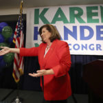 June 20, 2017, Atlanta: Karen Handel makes an early appearance to thank her supporters after the first returns come in during her election night party in the 6th District race with Jon Ossoff on Tuesday, June 20, 2017, in Atlanta.    Curtis Compton/ccompton@ajc.co