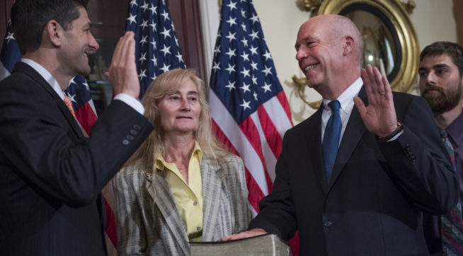 UNITED STATES - JUNE 21: Rep. Greg Gianforte, R-Mont., and his wife Susan, participate in a swearing in ceremony in the Capitol with Speaker Paul Ryan, R-Wis., before the actual event on the House floor on June 21, 2017. (Photo By Tom Williams/CQ Roll Call)