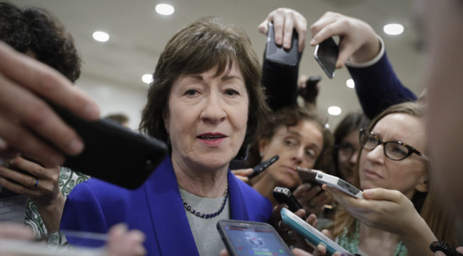 Sen. Susan Collins, R-Maine, speaks amid a crush of reporters after Republicans released their long-awaited bill to scuttle much of President Barack Obama's Affordable Care Act, at the Capitol in Washington, Thursday, June 22, 2017. She is one of four GOP senators to say they are opposed to it as written which could put the measure in immediate jeopardy.  (AP Photo/J. Scott Applewhite)