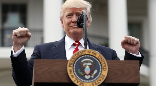 President Donald Trump reacts as he begins to speak at the Congressional Picnic on the South Lawn of the White House, Thursday, June 22, 2017, in Washington. (AP Photo/Alex Brandon)