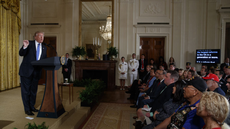 """President Donald Trump speaks during a bill signing event for the """"Department of Veterans Affairs Accountability and Whistleblower Protection Act of 2017"""" in the East Room of the White House, Friday, June 23, 2017, in Washington. (AP Photo/Evan Vucci)"""