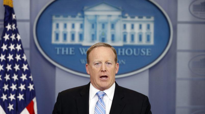 White House press secretary Sean Spicer speaks during a media briefing at the White House, Monday, June 26, 2017, in Washington. (AP Photo/Alex Brandon)