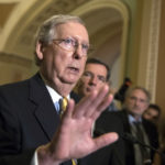 Senate Majority Leader Mitch McConnell, R-Ky., joined by Sen. John Barrasso, R-Wyo., right, tells reporters he is delaying a vote on the Republican health care bill while the GOP leadership works toward getting enough votes, at the Capitol in Washington, Tuesday, June 27, 2017. In a bruising setback, Senate Republican leaders are delaying a vote on their prized health care bill until after the July 4 recess, forced to retreat by a GOP rebellion that left them lacking enough votes to even begin debating the legislation, two sources said Tuesday. (AP Photo/J. Scott Applewhite)
