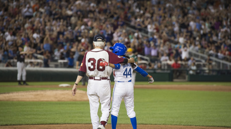 UNITED STATES - JUNE 15: Rep. Nanette Barragan, D-Calif., and Bill Pascrell, D-N.J., celebrate her hit during the 56th Congressional Baseball Game at Nationals Park on June 15, 2017. (Photo By Tom Williams/CQ Roll Call)