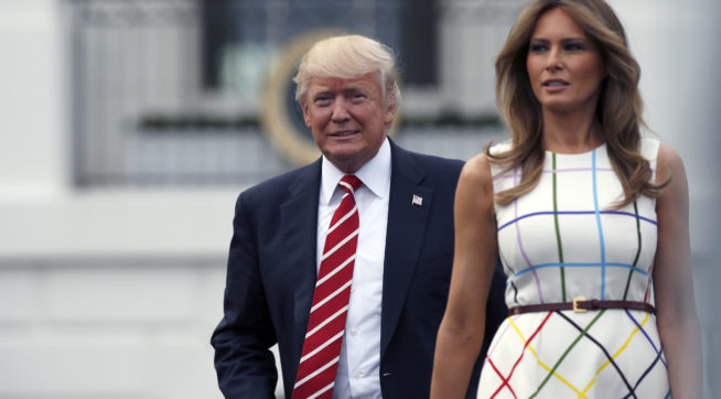 President Donald Trump with first lady Melania Trump, arrive at the Congressional Picnic on the South Lawn of the White House, Thursday, June 22, 2017, in Washington. (AP Photo/Alex Brandon)