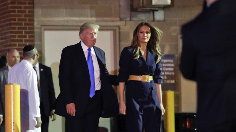 President Donald Trump and first lady Melania Trump walks to their vehicle after visiting MedStar Washington Hospital Center in Washington, Wednesday, June 14, 2017, where House Majority Leader Steve Scalise of La. was taken after being shot in Alexandria, Va., during a Congressional baseball practice. (AP Photo/Pablo Martinez Monsivais)