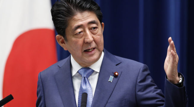 Japanese Prime Minister Shinzo Abe speaks during a press conference at his official residence in Tokyo Tuesday Feb. 23 2010