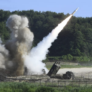 "In this photo provided by South Korea Defense Ministry, a U.S. MGM-140 Army Tactical Missile is fired during the combined military exercise between U.S. and South Korea against North Korea at an undisclosed location in South Korea, Wednesday, July 5, 2017. Grinning broadly, North Korean leader Kim Jong Un delighted in the global furor created by his nation's first launch of an intercontinental ballistic missile, vowing Wednesday to never abandon nuclear weapons and to keep sending Washington more ""gift packages"" of missile and atomic tests. (South Korea Defense Ministry via AP)"