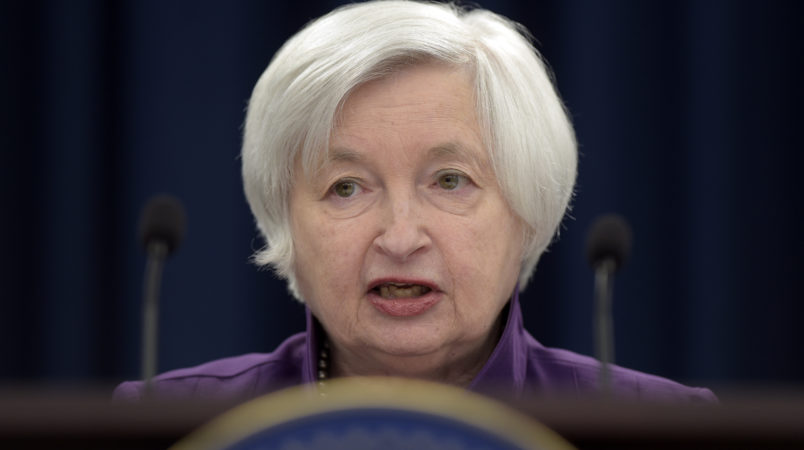 Federal Reserve Chair Janet Yellen speaks in Washington, Wednesday, June 14, 2017, to announce the Federal Open Market Committee decision on interest rates following a two-day meeting. (AP Photo/Susan Walsh)