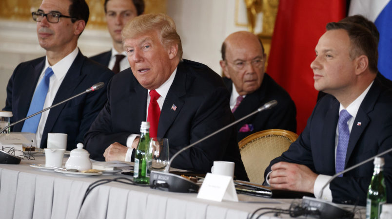 President Donald Trump speaks during the Three Seas Initiative Transatlantic Roundtable in the Great Assembly Hall of the Royal Castle, Thursday, July 6, 2017, in Warsaw. (AP Photo/Evan Vucci)
